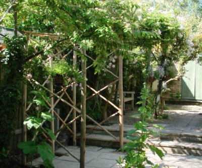 An arbour made from Eucalyptus wood